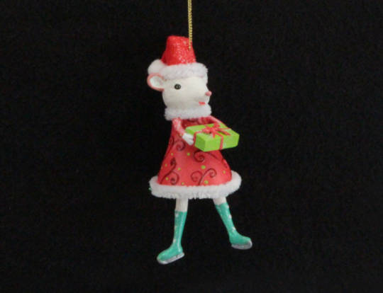 Hanging Resin Miss Santa Mouse