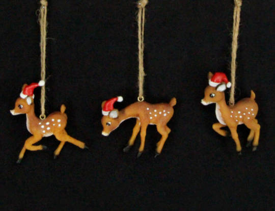 Hanging Resin Bambi with Santa Hat