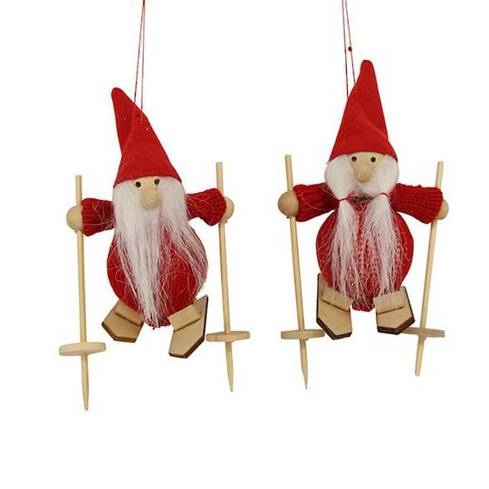 Hanging Red Felt/Wool Santa on Skis 13cm