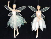 Hanging Resin Fairy with Sheer Iridescent Dress