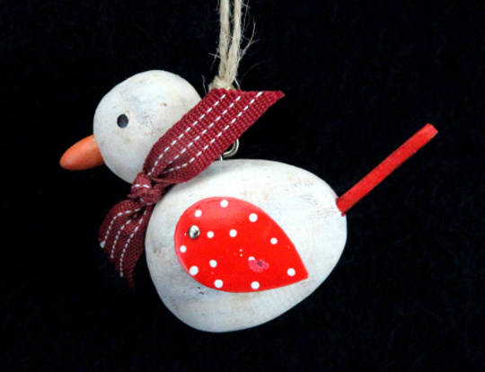 Hanginf Wooden Bird with Red Tin Wings and Scarf