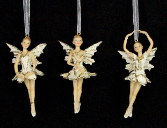 Hanging Resin Ballerina Fairy Cream/Gold Sml