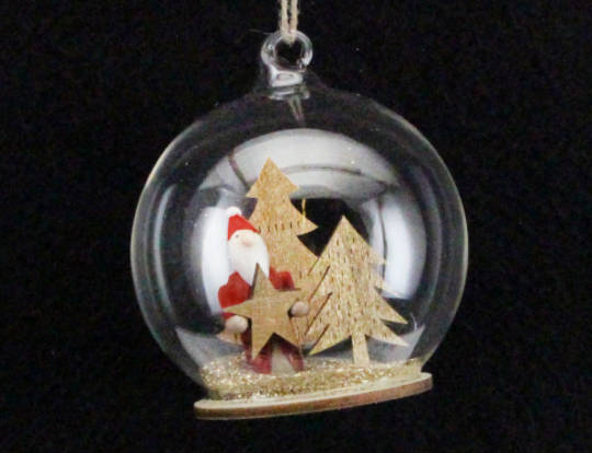 Hanging Glass Dome with Santa and Gold Glitter Tree inside