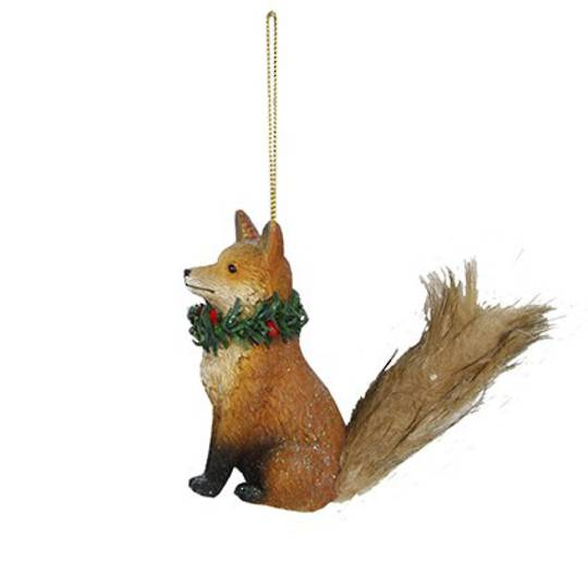 Resin Fox with Fur Tail