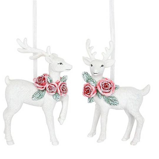 Resin White Deer with Red Rose