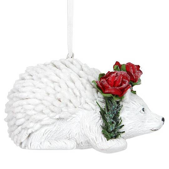 Resin White Hedgehog with Red Roses