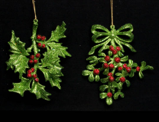 Hanging Acrylic Holly Red/Green Glitter 15cm