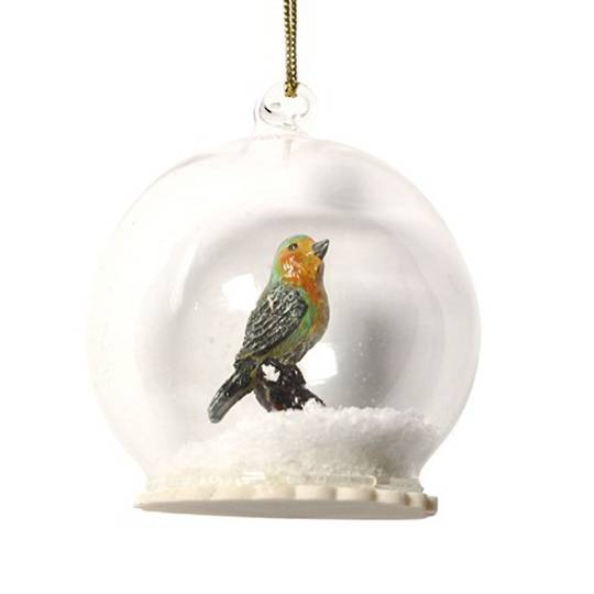 Glass Ball with Resin Robin Inside