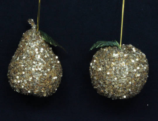 Hanging Gold Beaded Fruit 12cm