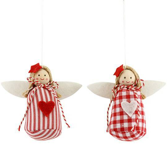 Frabric Nordic Red & White Angel