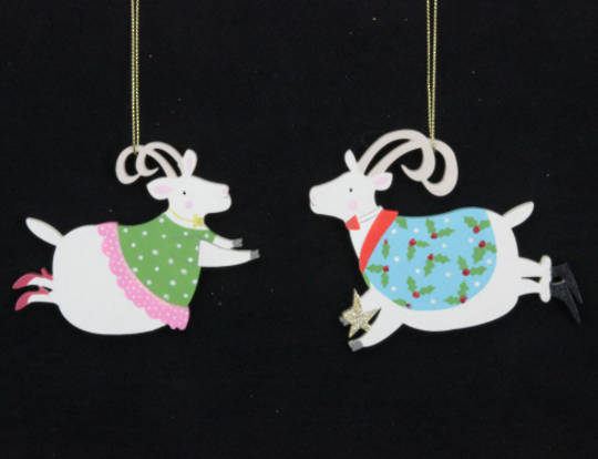 Hanging Wooden Party Goat 10cm