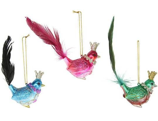 Vibrant Glass Bird with Feather Tail and Gold Crown