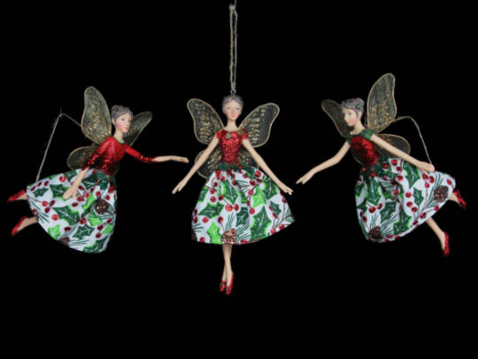 Hanging Resin/Fabric Woodland Fairy Lge