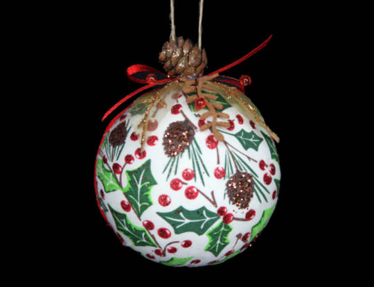Woodlands Holly Fabric Ball 7cm