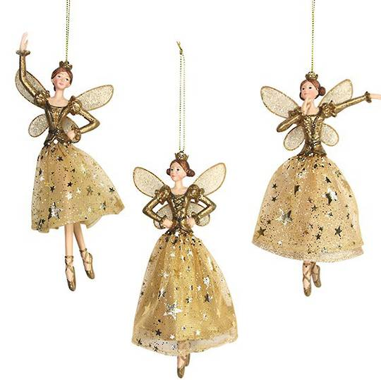 Resin and Fabric Gold Angel with Crown