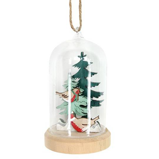 Glass Dome Wood Robin in Trees Inside