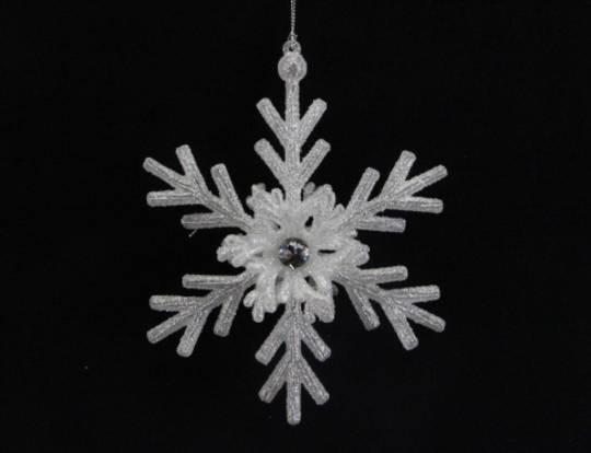 Pale Silver Glitter Acrylic Snowflake
