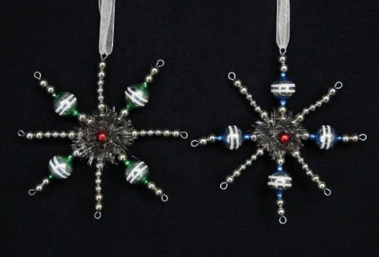 Hanging Wire Glass Bead Snowflake 15cm