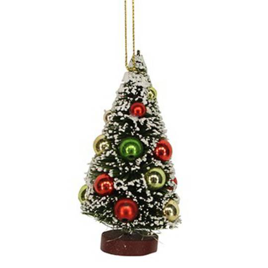 Bristle Tree with Shiny Baubles 9cm
