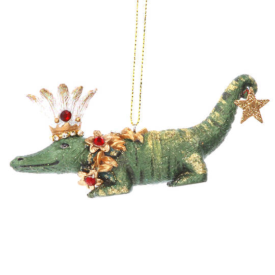 Resin Crocodile with Flower 10cm