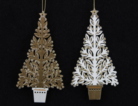 Wood Fretwork Gold & Cream Potted Christmas Tree