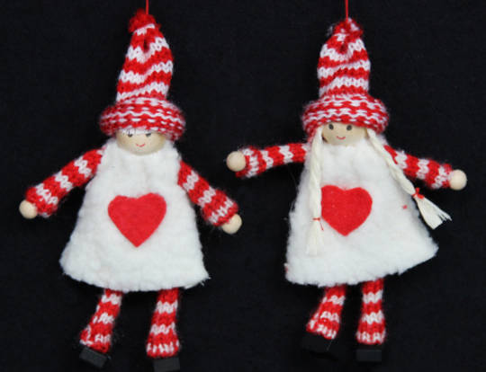 Hanging Red/White Stripey Wool Girl/Boy