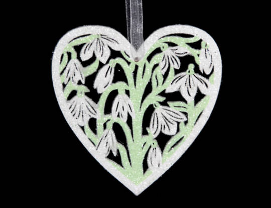 Wood Fretwork Heart with Snowdrop Pattern