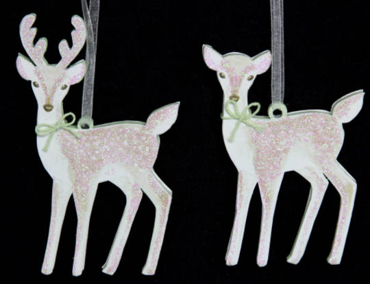 Hanging Wooden Snowdrop Deer SOLD OUT