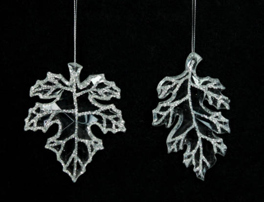 Hanging Clear Acrylic and Glitter Leaf