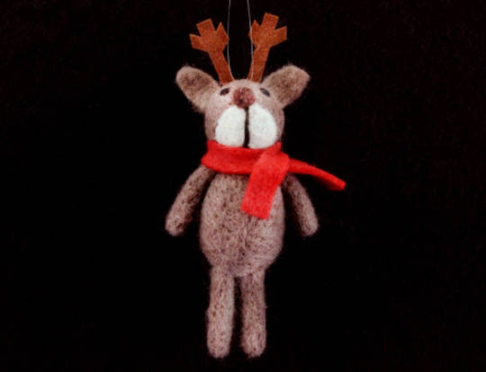 Wool Reindeer with Red Scarf HO