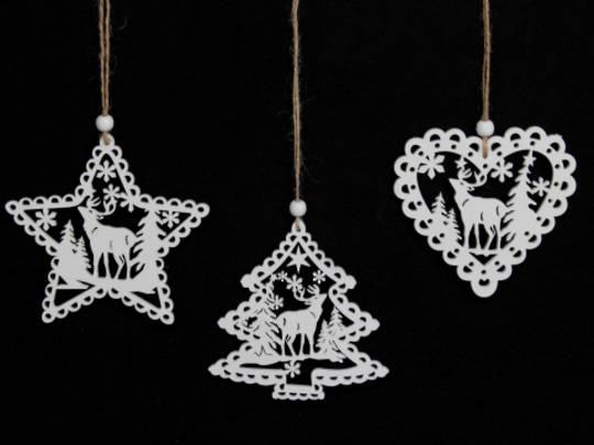 Hanging Wooden Iridescent Glittered Fretwork Shape w/ Stag