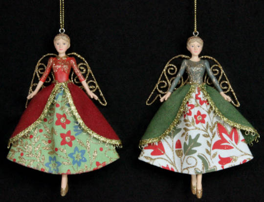 Hanging Resin/Fabric Angel with Coat