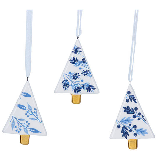 Ceramic White Blue Gold Tree 7cm