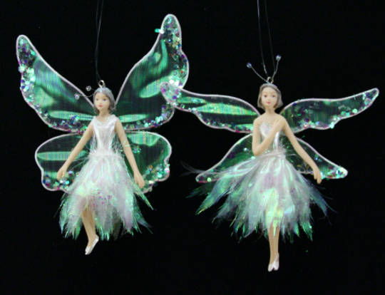 Resin and Sheer Fabric Green Fairy 11cm each