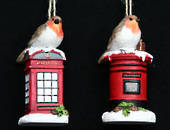 Hanging Resin Robin on Letter/Phone Box