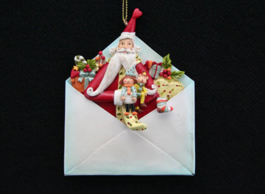 Tin and Resin Hanging Santa Letter 10cm