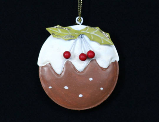 Tin Hanging Ball Flat, Pudding 6cm