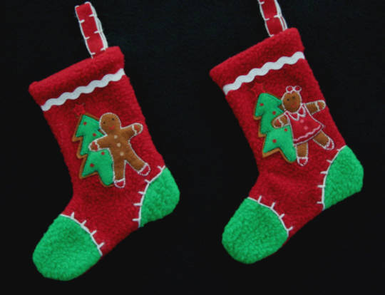 Hanging Felt Gingerbread Mini Socks 15cm