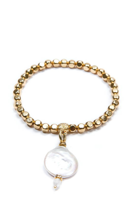 Bracelet, Gold Beads with Fresh Water Pearl Disc Charm