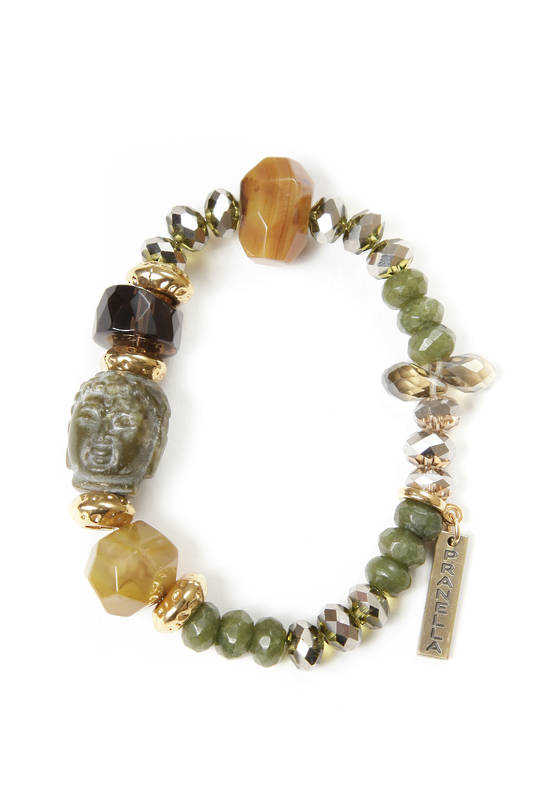 Bracelet, Agate Natural Colour Beads, with Buddah