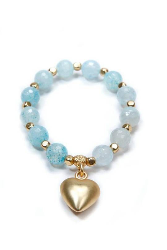 Bracelet, Light Blue Mottled Quartz w/Charm