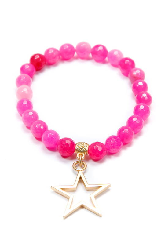 Bracelet, Hot Pink Dyed Jade w/Charm