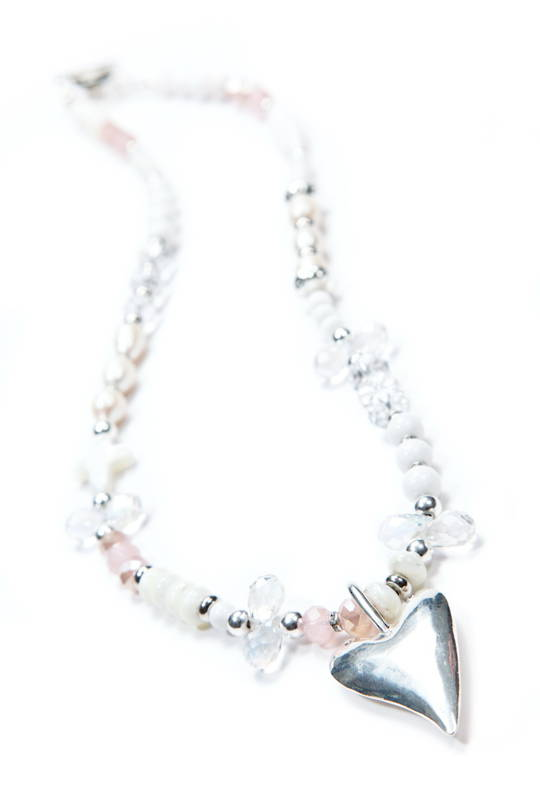 Necklace, Light Pink  and ClearQuartz with Heart