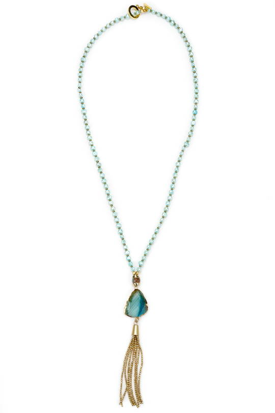 Necklace, Turquise Pearl and Agate with Tassel