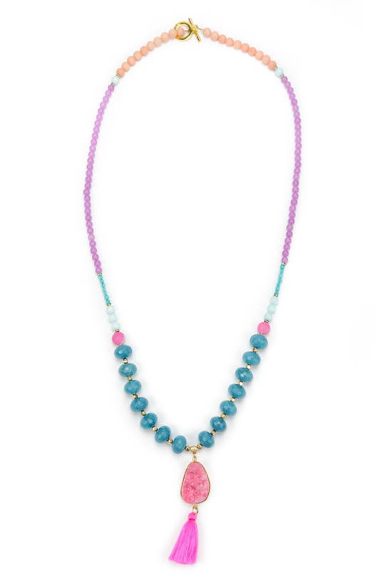 Necklace, Vibrant Coloured Jade with Rock Crystal & Tassel