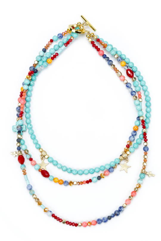 Necklace, 3 Strand Multi Colour Necklace