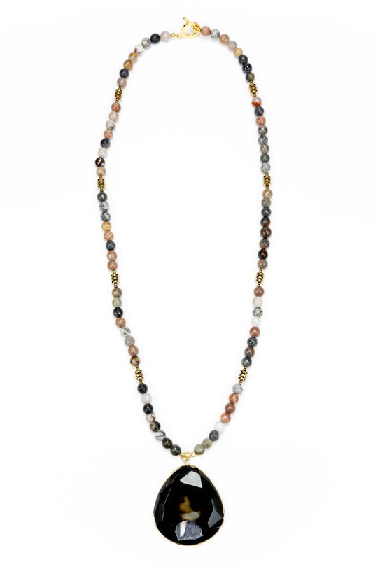 Necklace, Dark Natural Agate with Gold Spacer and Rock Crystal Pendant