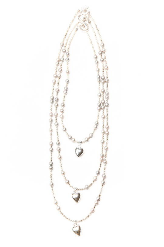 Necklace, Grey Fresh Water Pearl with Heart