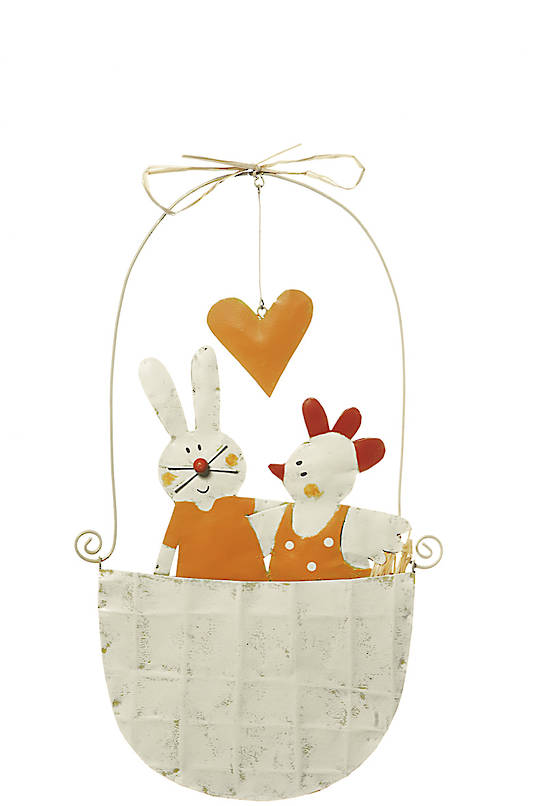 Tin Mobile Nest with Chick & Bunny 30cm