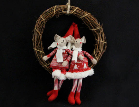 Hanging Fabric Dressed MIce in Twig Wreath